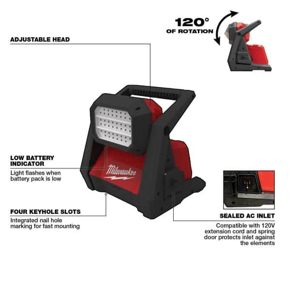 Details about  /Milwaukee LithiumIon Cordless Compact Flood Light 1000 Lumen Rover LED Red