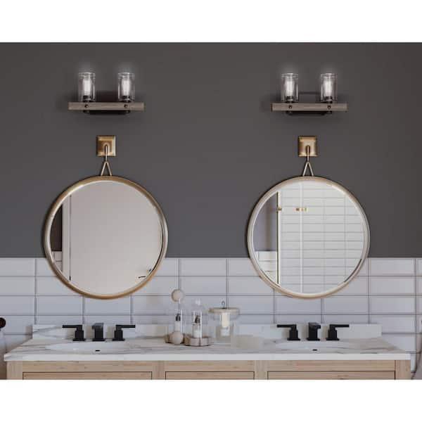 Progress Lighting Gulliver Collection 2 Light Graphite Clear Seeded Glass Coastal Bath Vanity Light P300124 143 The Home Depot