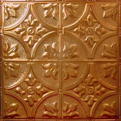 Pattern #2 in Rustic Copper Translucent 2 ft. x 2 ft. Nail Up Tin Ceiling Tile (20 sq. ft./Case)