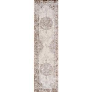 Rosalia Cottage Medallion Brown/Cream 2 ft. x 8 ft. Runner Rug