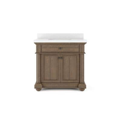 McGinnis 36 in. W x 20 in. D Bath Vanity in Light Oak with Quartz Stone Vanity Top in White with White Basin