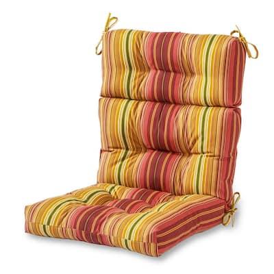 Kinnabari Stripe Outdoor High Back Dining Chair Cushion