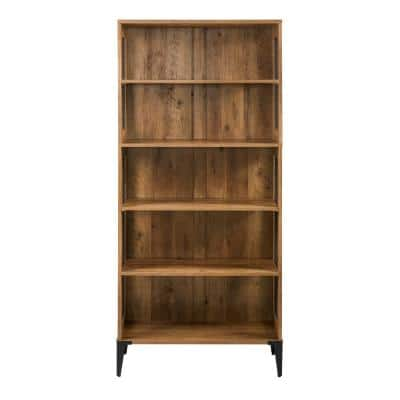 68 in. Reclaimed Barnwood and Metal Mesh Industrial 4-Shelf Standard Bookcase with 3-Adjustable Shelves