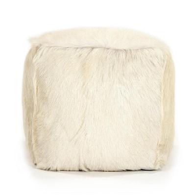 Tibetan Ivory Goat Fur Pouf
