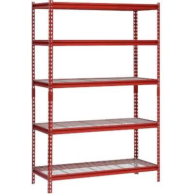Red 5-Tier Boltless Steel Garage Storage Shelving (48 in. W x 72 in. H x 24 in. D)