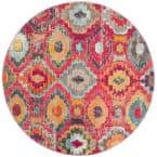 Monaco Red/Blue 6 ft. 7 in. x 6 ft. 7 in. Round Area Rug