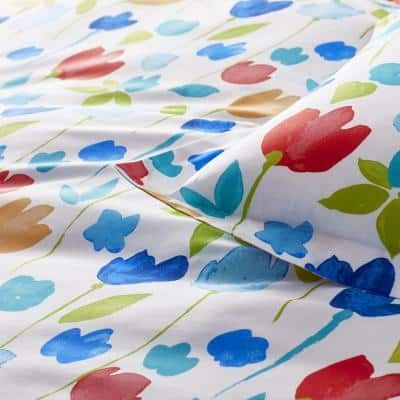 Company Cotton™ Tulips Multicolored Floral Percale Duvet Cover