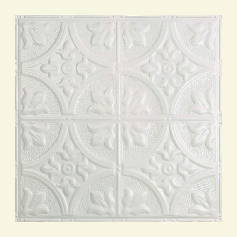 Great Lakes Tin Jamestown 2 Ft X 2 Ft Nail Up Metal Ceiling Tile In Matte White Case Of 5 T5101 The Home Depot