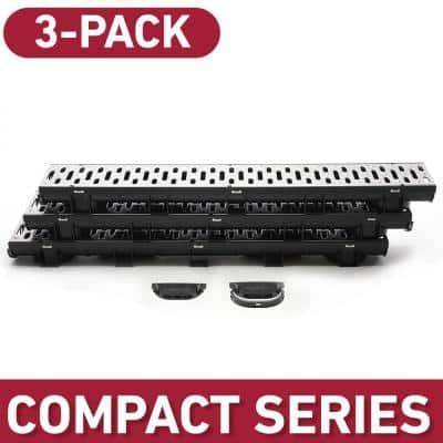 Compact Series 5.4 in. W x 3.2 in. D x 39.4 in. L Trench and Channel Drain Kit w/ Stainless Steel Grate (3-PK : 9.8 ft)