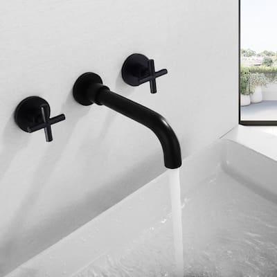 Double Handle Wall Mount Bathroom Sink Faucet in Matte Black