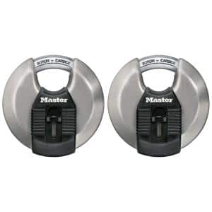 Magnum 3-1/8 in. W (79 mm) Stainless Steel Discus Keyed Padlock with Shrouded Shackle (2-Pack)