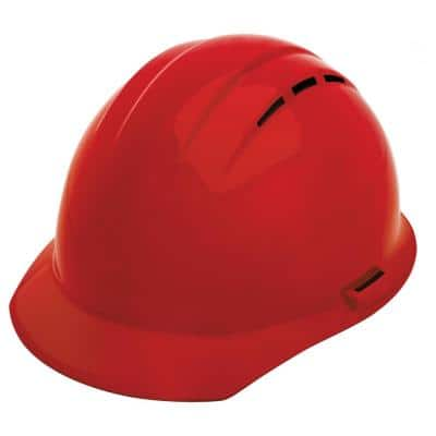 Vent 4 Point Nylon Suspension Mega Ratchet Cap Hard Hat in Red