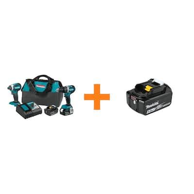 18-Volt LXT Brushless Cordless 2-Piece Combo Kit with 4.0Ah/Bonus 18-Volt 5.0Ah LXT Lithium-Ion Battery