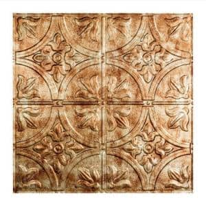 Traditional Style #2 2 ft. x 2 ft. Vinyl Lay-In Ceiling Tile in Bermuda Bronze
