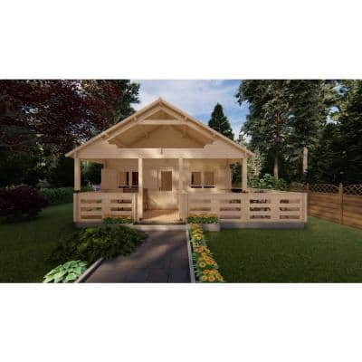 19 ft. 5 in. x 19 ft. 5 in. Multi Room Log Building Kit with Porch