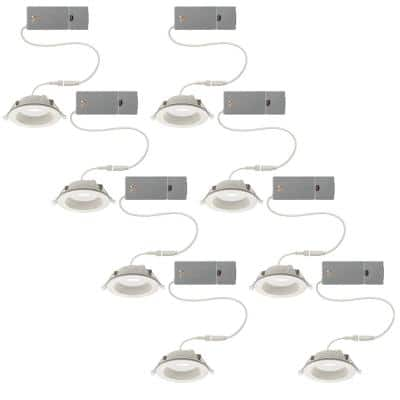 4 in. CanlessSelectableIntegrated LED Recessed Trim with Night Light Downlight 650Lumens Dimmable (8-Pack)