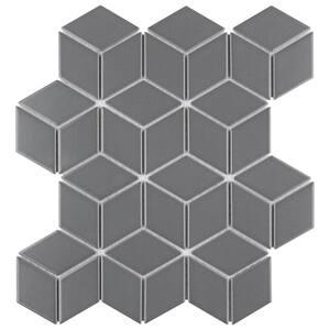 Metro Rhombus Matte Grey 10-1/2 in. x 12-1/8 in. Porcelain Mosaic (9.04 sq. ft. /Case)