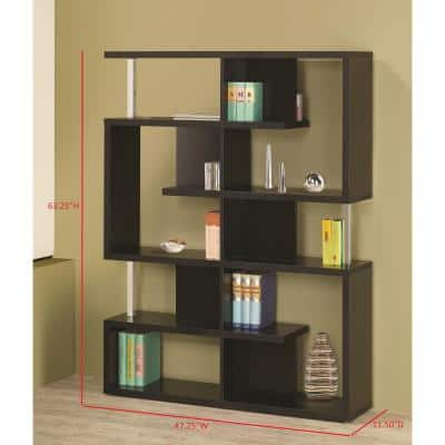 63.25 in. Black Metal 7-shelf Etagere Bookcase with Open Back
