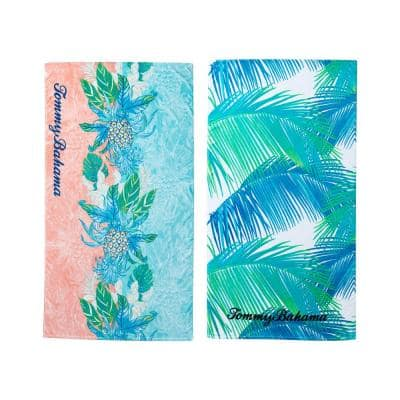 Pineapple Splash and Palmas 2-Piece Aqua and Pink Cotton 36 in. x 68 in. Beach Towel Set