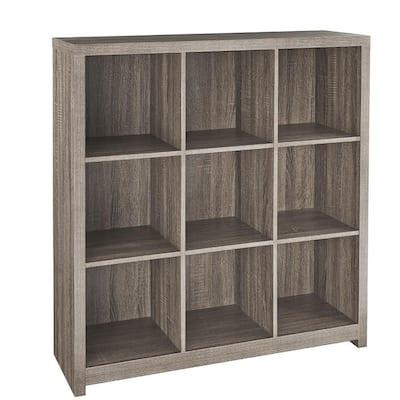 39 in. H x 37 in. W x 12 in. D Red Wood Look 9-Cube Storage Organizer