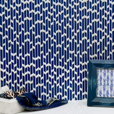 Kerrie Kelly Blue 12.76 in. x 8.11 in. Polished Marble and Glass Mosaic Tile (0.72 sq. ft. / Each)