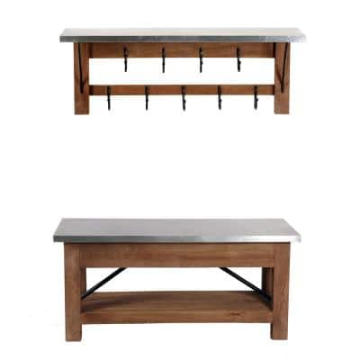 Millwork 40 in. Wood and Zinc Metal Bench with Open Coat Hook Shelf