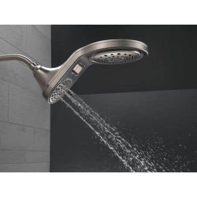 HydroRain Two-in-One 5-Spray 7.9 in. Double Wall Mount Fixed Shower Head in Stainless