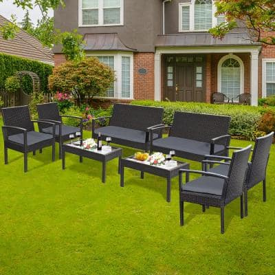 8-Piece Wicker Outdoor Loveseat with Grey Cushions