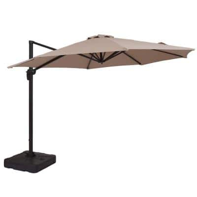 11 ft. Market Cantilever Outdoor Patio Umbrella with Crank and Base in Beige