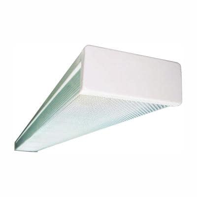 2-Light White Fluorescent Wraparound Steel Ceiling Fixture with Clear Prismatic Acrylic Lens