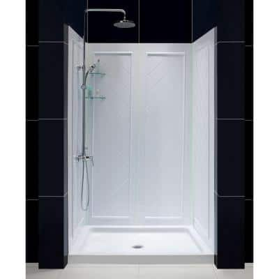 Qwall-5 36 in. x 48 in. x 76-3/4 in. Standard Fit Shower Kit in White with Shower Base and Back Wall