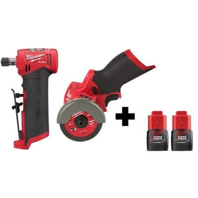 M12 FUEL 12-Volt Lithium-Ion Brushless Cordless 1/4 in. Right Angle Die Grinder and Cut Off Saw with 2 Batteries
