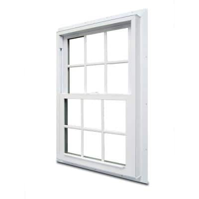 33.75 in. x 48.75 in. 70 Series Double Hung White Vinyl Window with Nailing Flange and Colonial Grilles