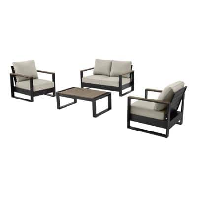Manor Oaks Aluminum Commercial 4-Piece Seating Set with Loveseat with Sunbrella Cast Ash Gray Cushions