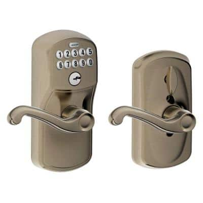 Plymouth Antique Pewter Electronic Door Lock with Flair Door Lever Featuring Flex Lock