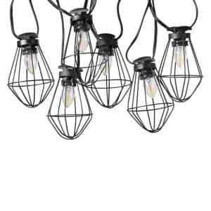 10-Light Copenhagen Outdoor/Indoor 10 ft. Plug-In String Lights, Candelabra Vintage LED Bulbs Included