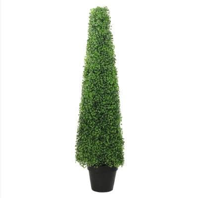 45 in. Potted 2-Tone Green Triangular Boxwood Topiary Artificial Garden Tree