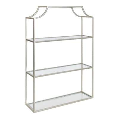 Ciel 6 in. x 20 in. x 30 in. Silver Metal Floating Decorative Wall Shelf Without Brackets