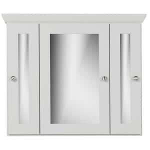 30 in. W x 27 in. H x 6.5 in. D Tri-View Surface-Mount Medicine Cabinet Square/Mirror in Dewy Morning