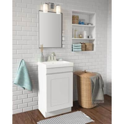 Indale 20 in. W x 16 in. D Vanity in Linen White with Porcelain Vanity Top in Solid White with White Basin