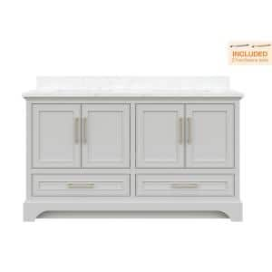 Lareda 60 in. W x 22 in. D Double Vanity in Light Gray with Carrara Marble Vanity Top with White Basins