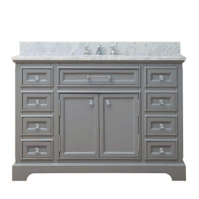 48 in. W x 21.5 in. D Vanity in Cashmere Grey with Marble Vanity Top in Carrara White and Chrome Faucet