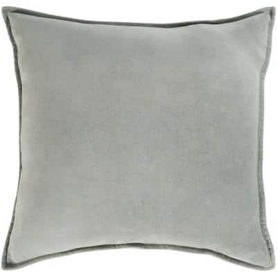 Velizh Medium Gray Solid Polyester 20 in. x 20 in. Throw Pillow