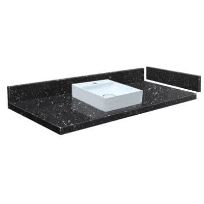 34.5 in. W x 22.25 in. D Quartz Vessel Vanity Top in Interlude with Single Hole with White Basin
