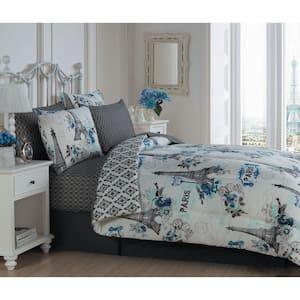 Cherie 6-Piece Blue Twin Comforter Set