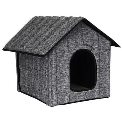 Collapsi-Pad Folding Lightweight Travel Pet House with Inner Mat in Grey