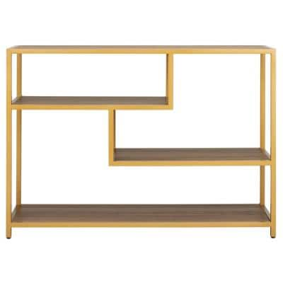 Reese 42 in. Walnut/Gold Standard Rectangle Wood Console Table with Storage