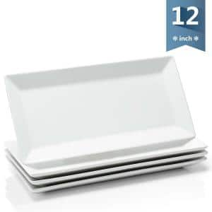 12 in. Stackable Porcelain Rectangular Plates, White Serving Trays for Parties (Set of 4)