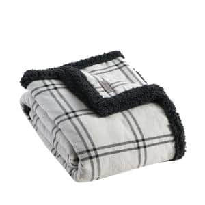 Kettle Falls Plaid Grey 1-Piece Cotton 50 in. x 60 in.Throw
