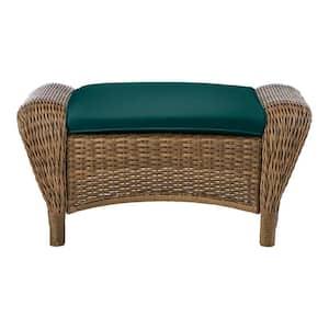 Beacon Park Brown Wicker Outdoor Patio Ottoman with CushionGuard Malachite Green Cushions